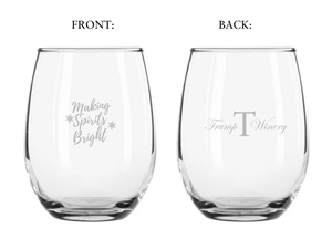 Stemless Glass- Holiday