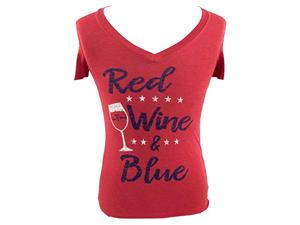 T-Shirt: Red, Wine, and Blue